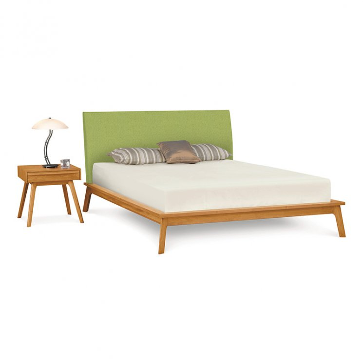 Catalina Cherry Platform Bed with Upholstered Headboard