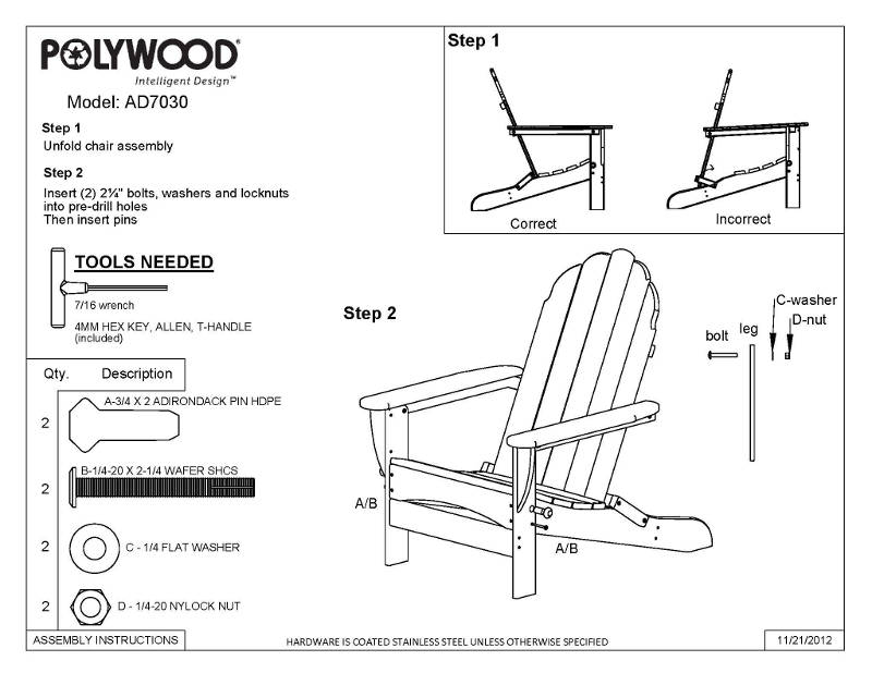 Polywood Adirondack Chairs With Curved Back All Weather