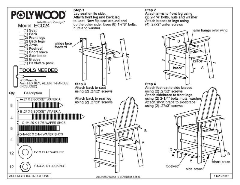 Polywood Long Island Outdoor Counter Height Chair