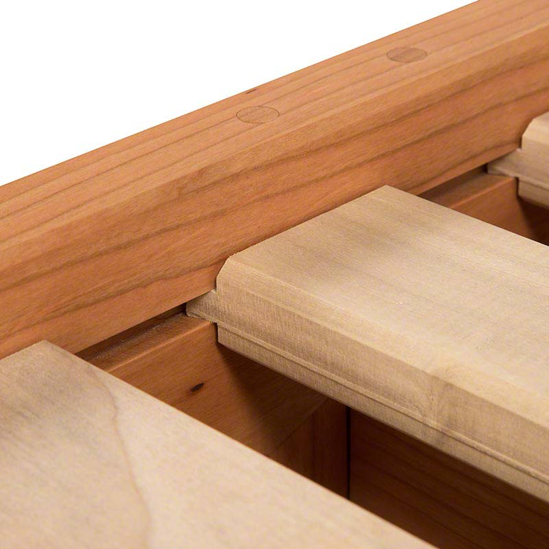 Sliding Dovetail Joinery attaches slats to side rails