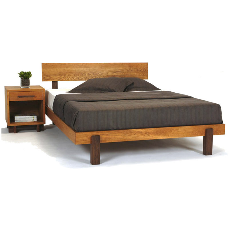 Modern platform bed in solid hardwood with natural finish for American made beds