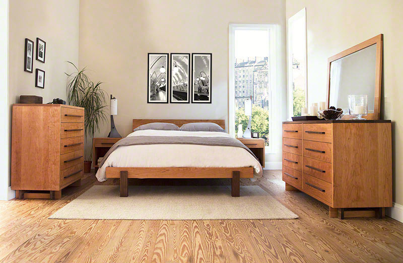 Modern Platform Bed In Solid Hardwood With Natural Finish