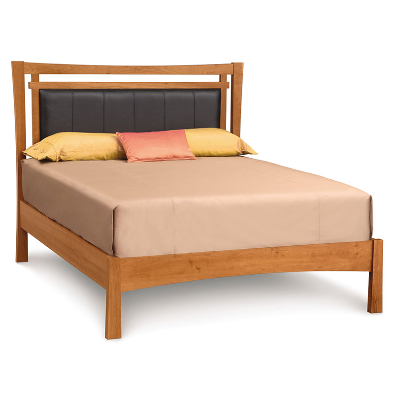 Copeland monterey wood platform bed with upholstered headboard