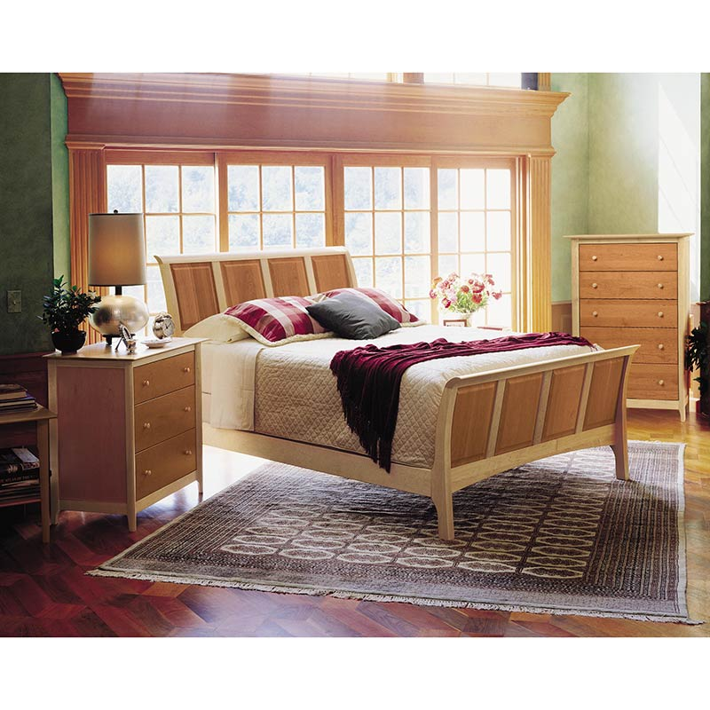 Ashley Furniture Vt: Copeland Sarah Cherry & Maple 2 Tone Wood Sleigh Bed