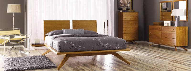 Real Solid Cherry Wood Copeland Modern Astrid Bedroom Set US Made