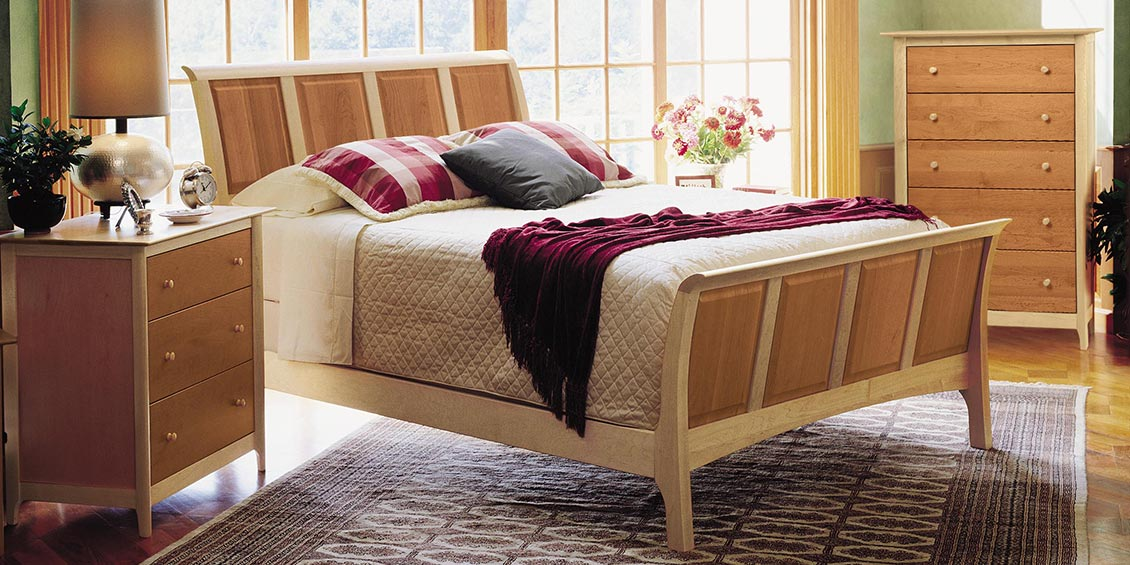Copeland's Sarah Shaker style Cherry & maple bed