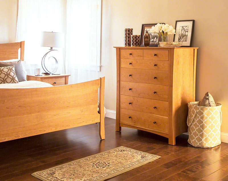 Natural Cherry Wood Chest Of Drawers Usa Made Bedroom Storage Furniture