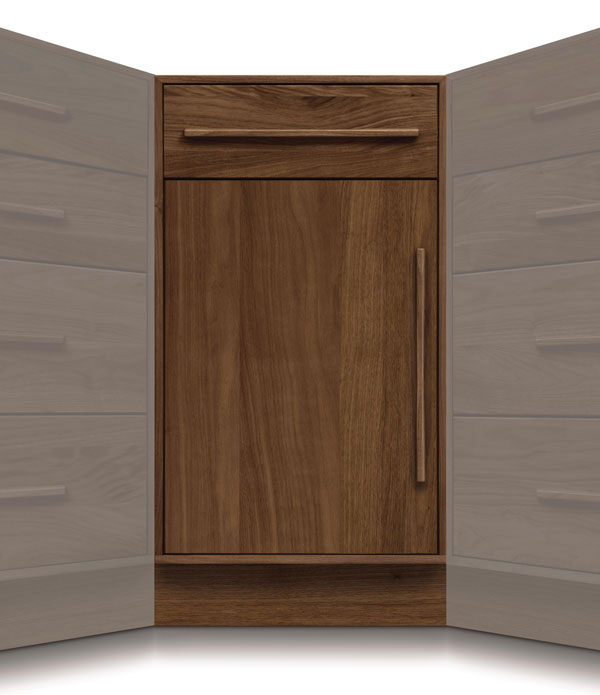 "Moduluxe 1 Drawer, 1 Door Corner Cabinet - 35"" Series"