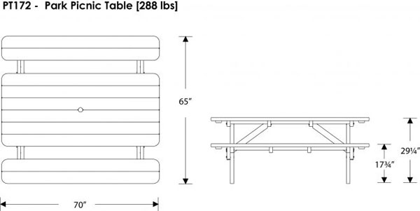 Polywood 72 Park Picnic Table Commercial Grade Outdoor