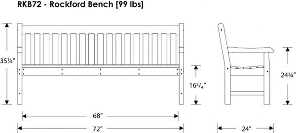 Large Polywood Rockford 72 Inch Bench Commercial Quality