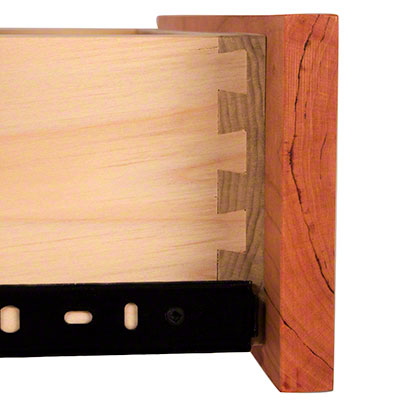 Half blind dovetail joint on a drawer box with poplar and cherry wood