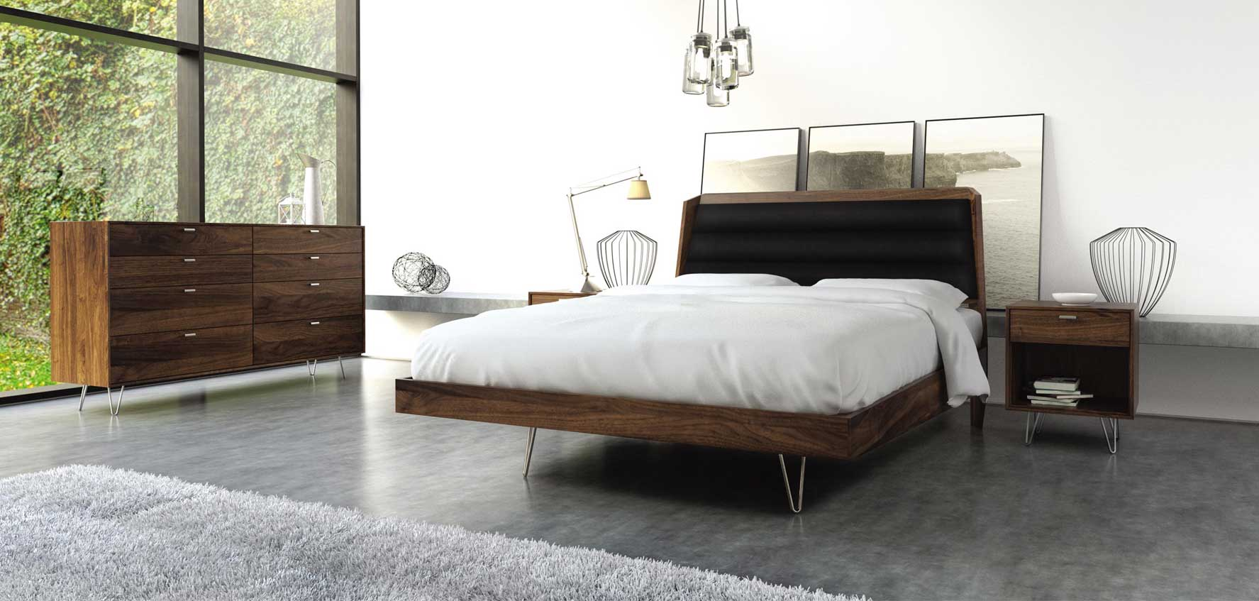 Hairpin Legs Copeland Canto Walnut Bedroom Collection