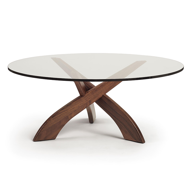 Ordinaire Entwine Walnut Round Glass Top Coffee Table