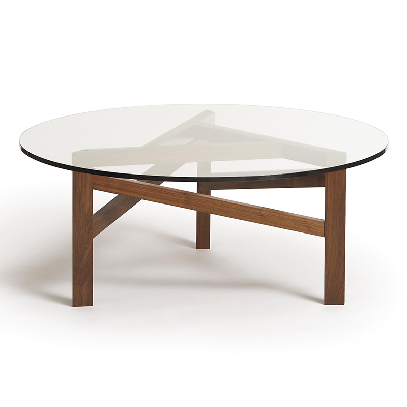 Charmant Glide Planes Walnut Round Glass Top Coffee Table