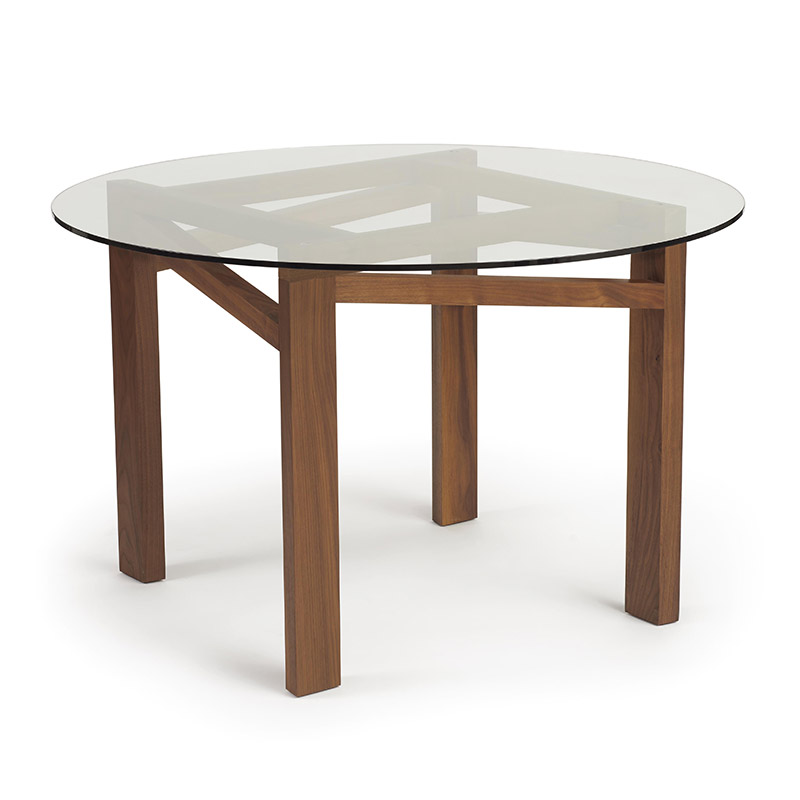 Glide Planes Walnut Round Glass Top Table