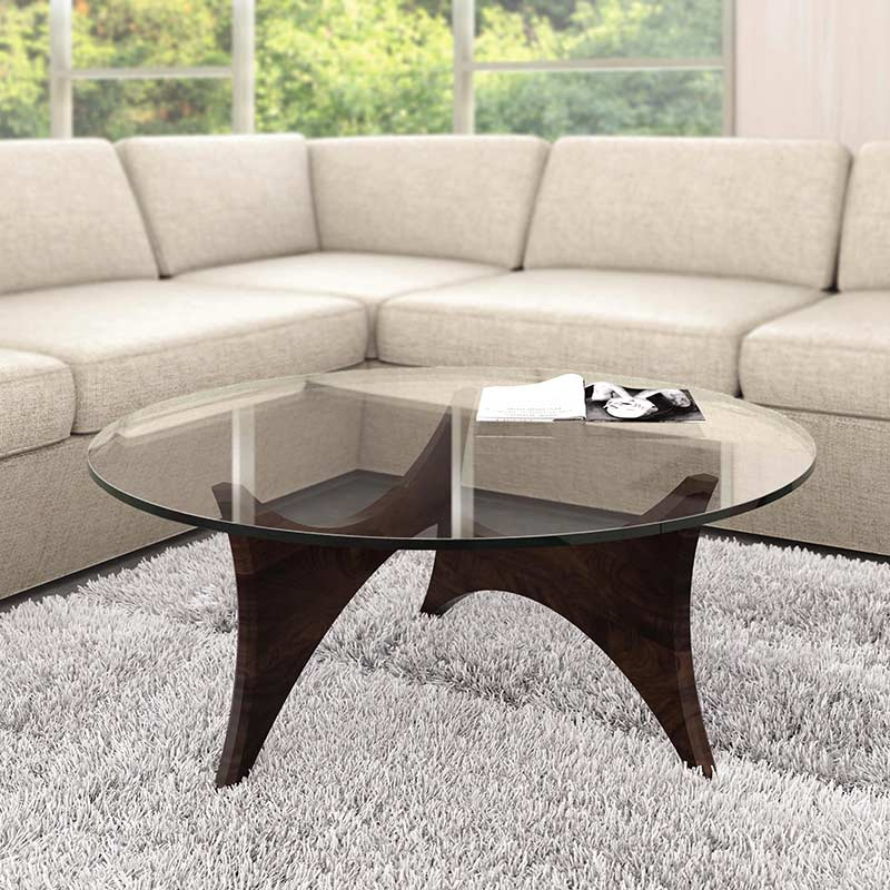 round glass top table 40 inch pivot walnut round glass top coffee table by copeland furniture vermont