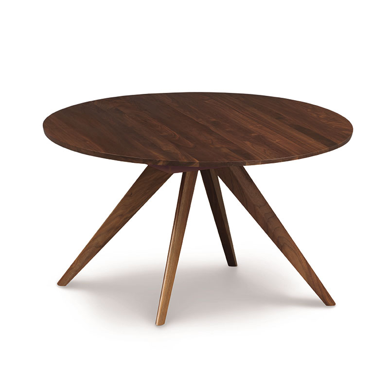 Copeland catalina walnut round extension dining table for Round extension dining table