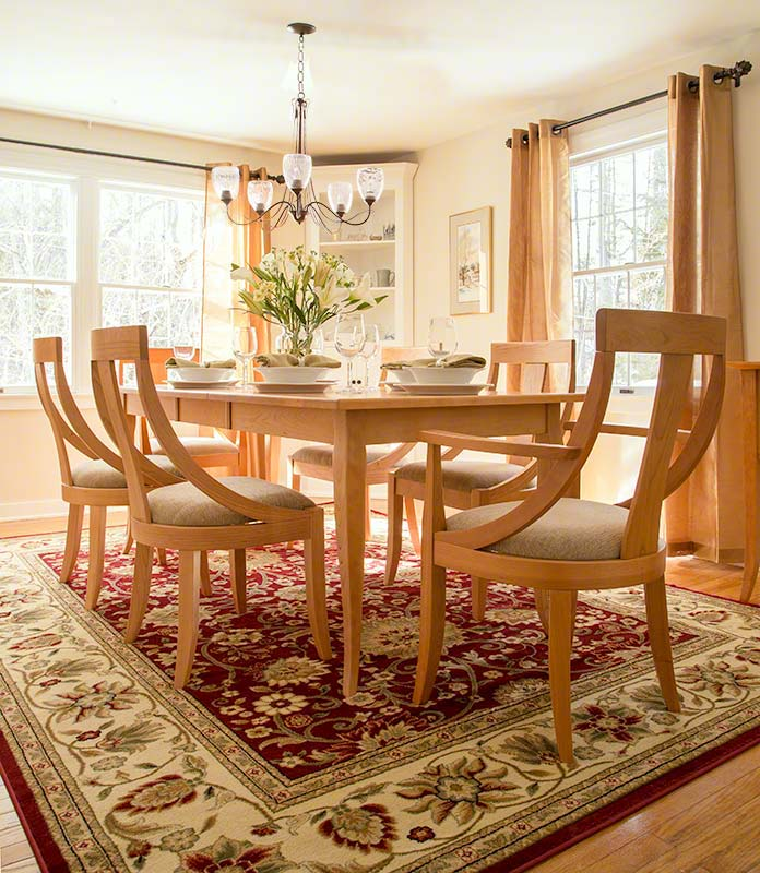 round back chair in natural cherry american made solid wood