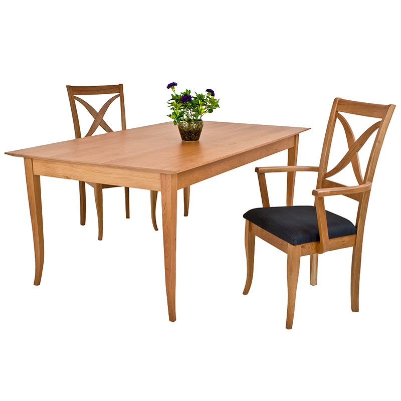 Shaker Style Dining Table In Solid Hardwood With Natural Finish Made