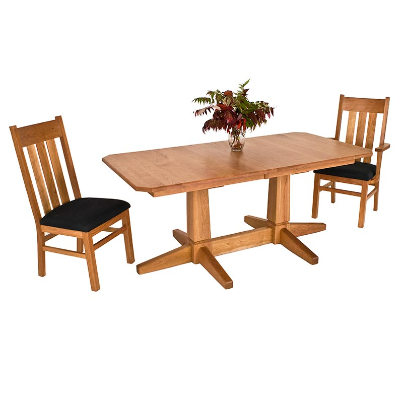 Vermont Double Pedestal Dining Table Vermont Woods Studios - Modern double pedestal dining table