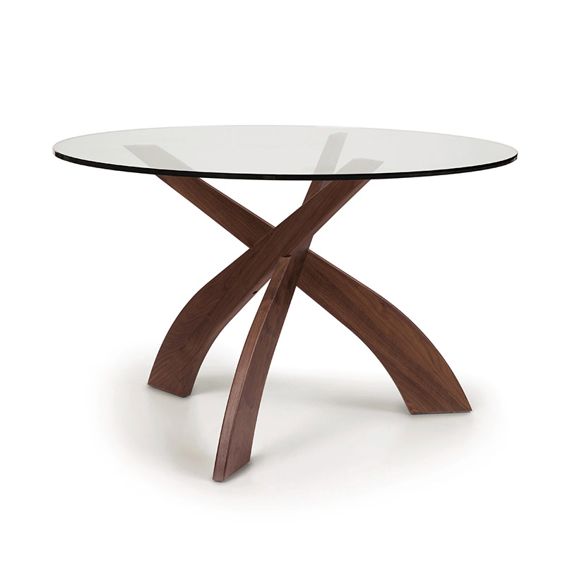 Entwine Walnut Round Glass Top Dining Table