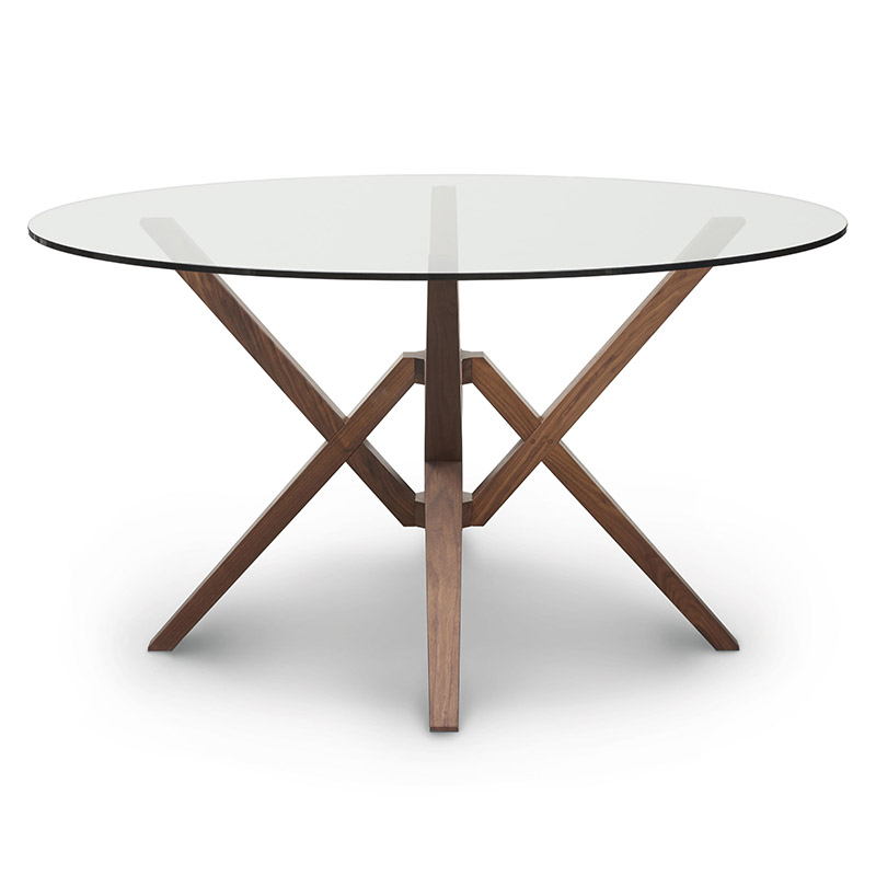 exeter round glass top table by copeland furniture vermont wood
