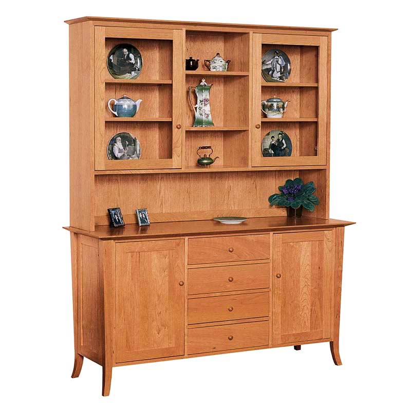 Kitchen Cabinets With Furniture Style Flair: Solid Natural Wood Buffet & Hutch