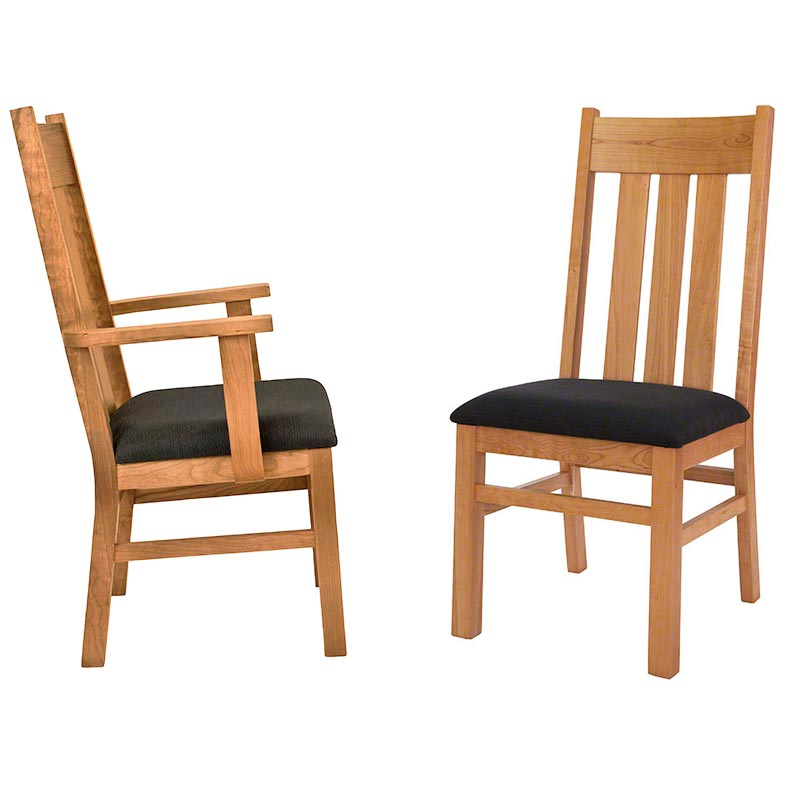 Modern mission dining chair custom chairs by vermont for Cherry dining room chairs