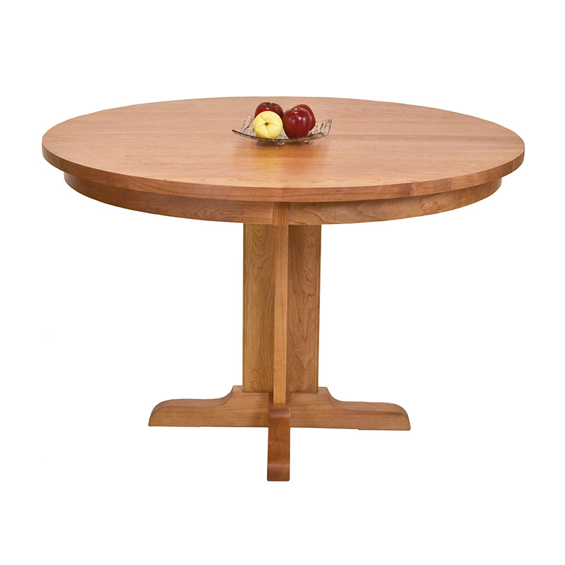 Shaker Round Single Pedestal Dining Table Solid Wood USA Made