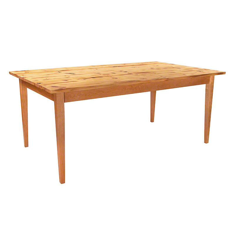 Reclaimed barnwood farm table with tapered legs hand crafted in vermont made in america - Barnwood dining room table ...