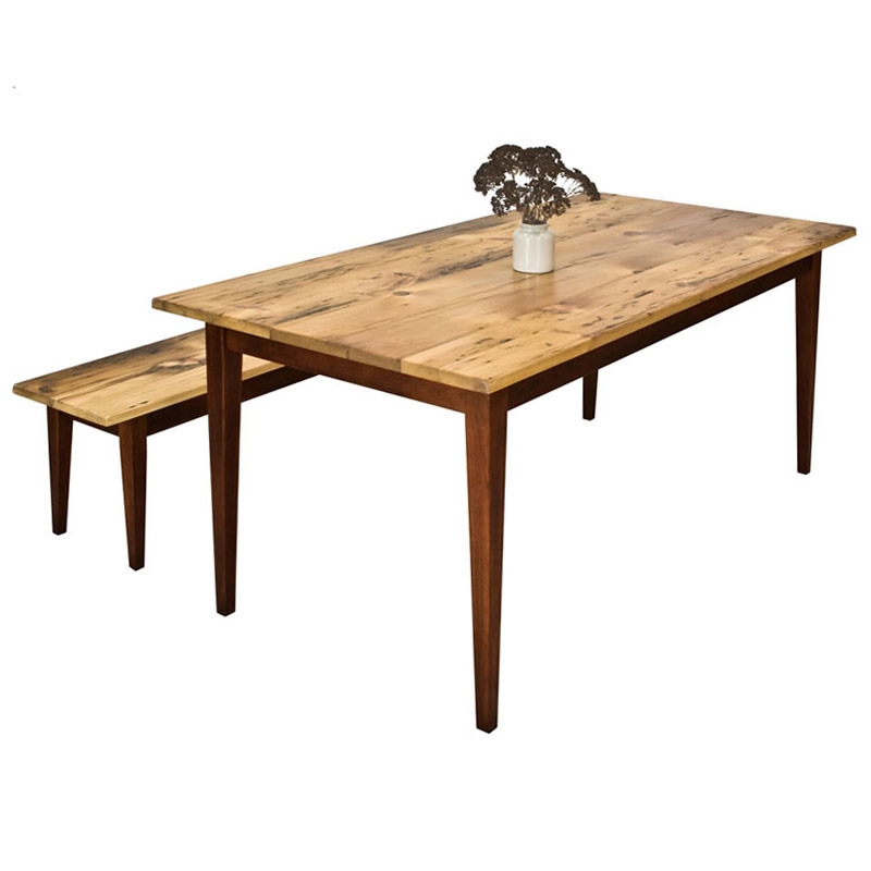 reclaimed barnwood farm table with tapered legs hand crafted in