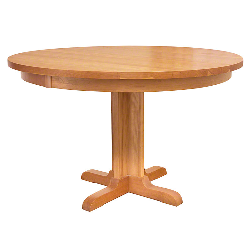 single leg round pedestal table vermont woods studios