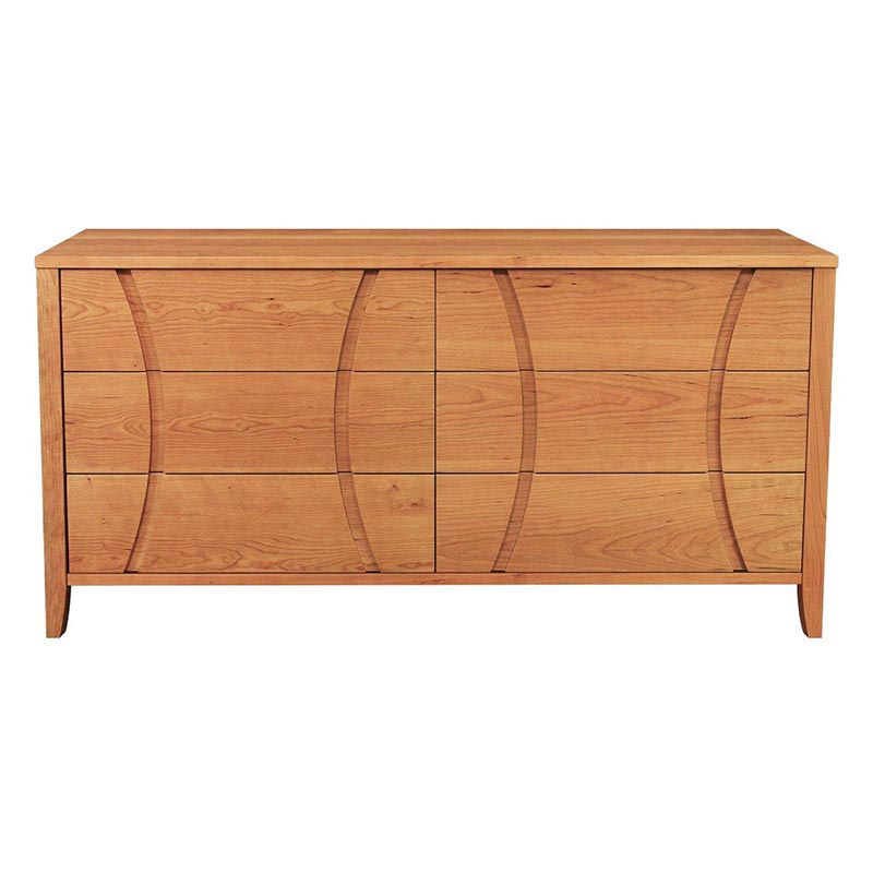 Natural Cherry Double Dresser Solid Wood Bedroom Furniture USA Made