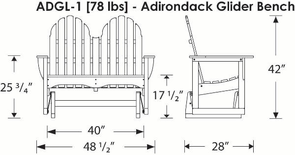 Adirondack Outdoor Glider Bench Polywood All Weather