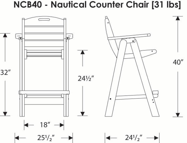 Counter Height Chair Dimensions : Outdoor Counter Height Chair Polywood Nautical Collection ...
