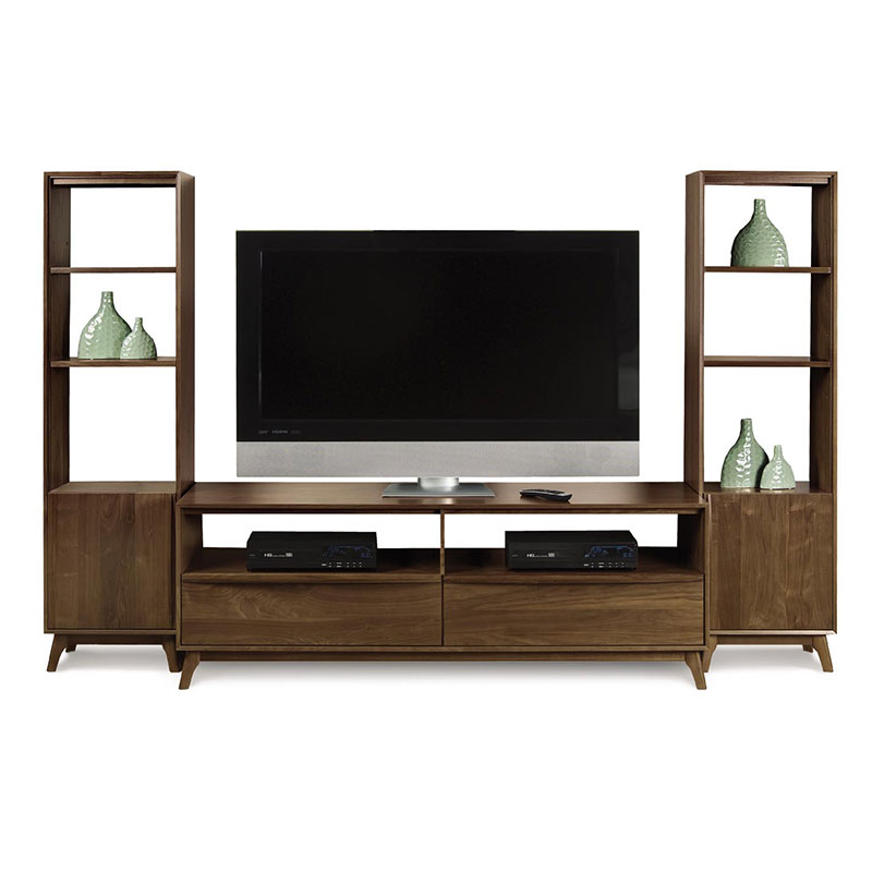 catalina walnut tower bookcase american made living room furniture - Furniture Wall Units Designs