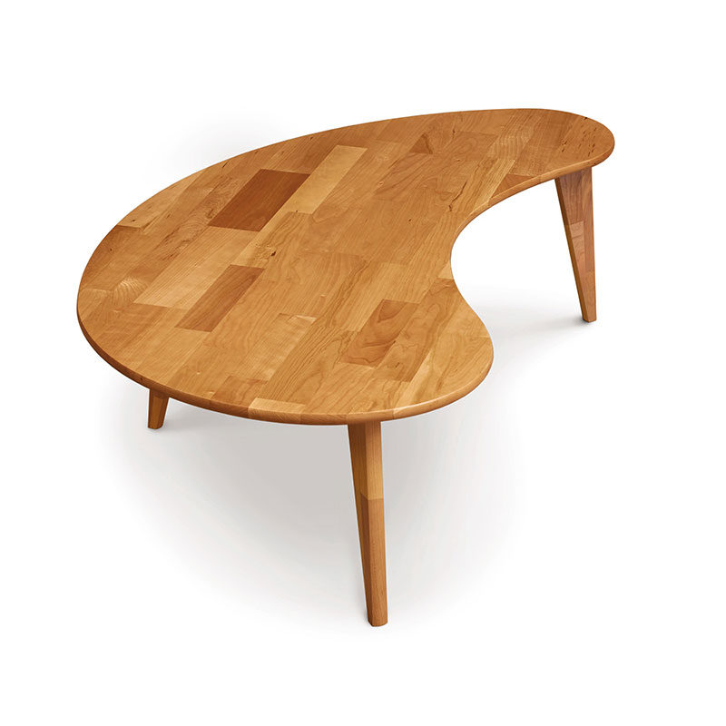 Essentials Cherry Kidney Shaped Coffee Table with Wood Legs