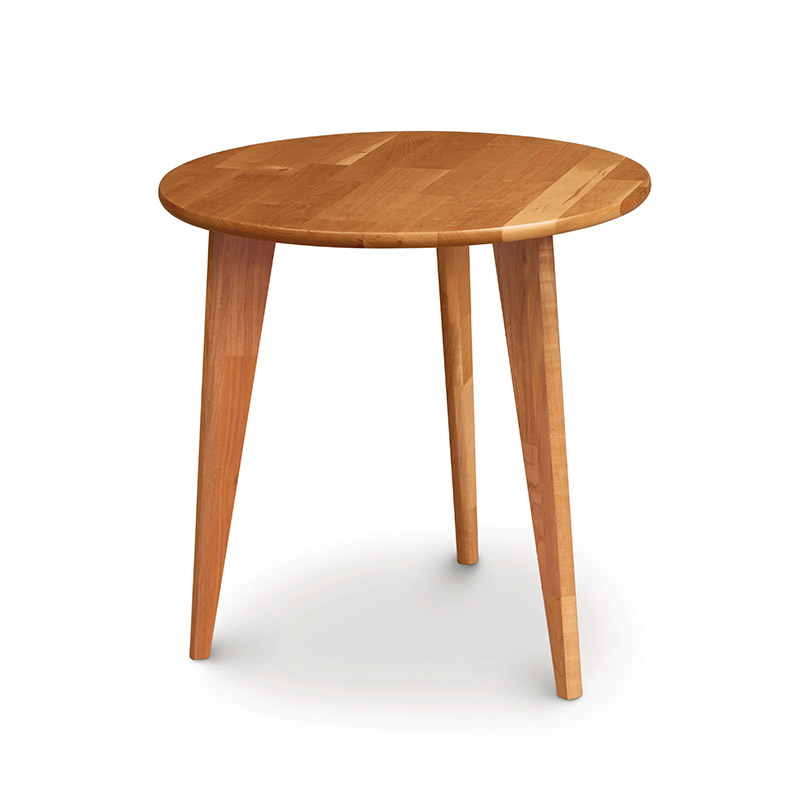 Essentials Cherry Round End Table With Wood Legs By