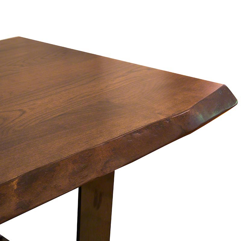 Clearance Metropolitan Coffee Table Live Edge Steel Base Solid Cherry Wood American Made