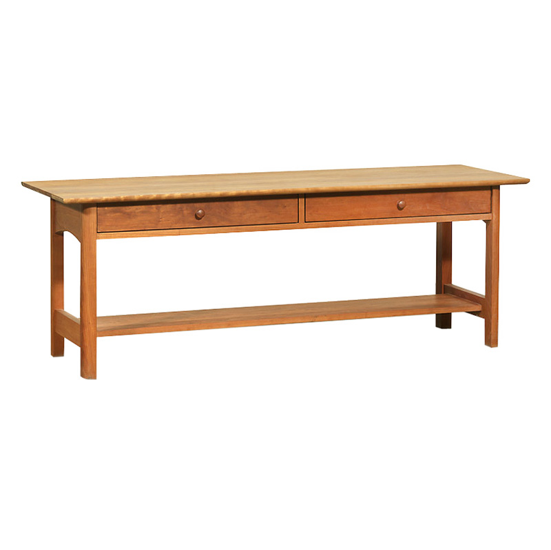 Modern Shaker 2 Drawer Low Console Wood Coffee Table Made In The USA