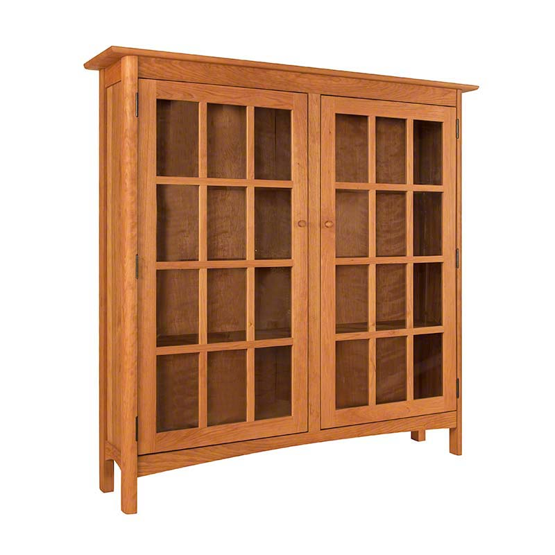 Solid Wood Shaker Style Bookcase With Glass Doors High End Vermont