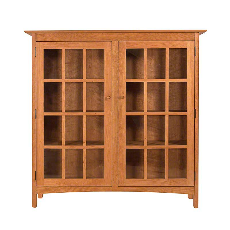 Solid Wood Shaker Style Bookcase With Glass Doors High