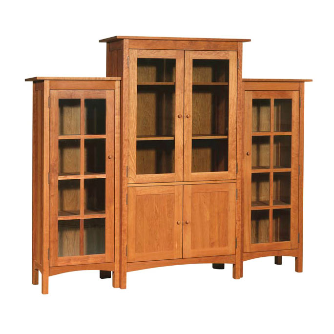 Three Piece Wall Unit Solid Wood Bookcases 6 Large Glass