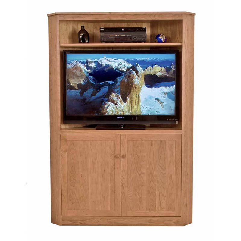 Shaker style wooden corner tv stand usa made entertainment centers
