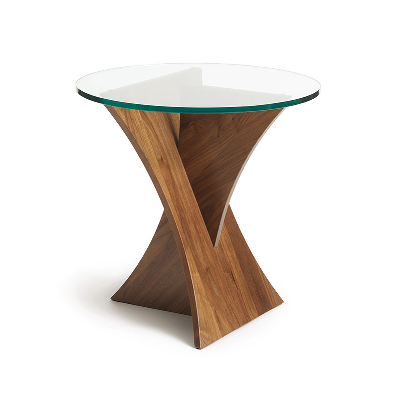 Genial Planes Walnut Round Glass Top End Table