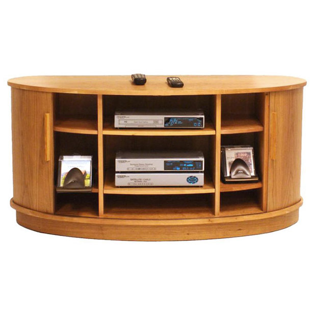 Modern Rounded Wood Entertainment Center