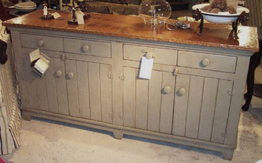 Rustic Barnwood Buffet with Copper Top