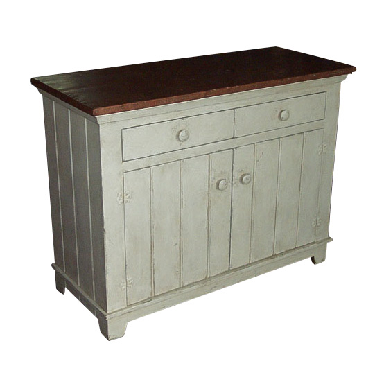 Barnwood Sideboard With Copper Top and Drawers