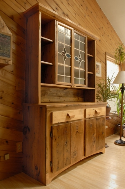 Rustic Stained Glass Buffet and Hutch - Recycled Barnwood