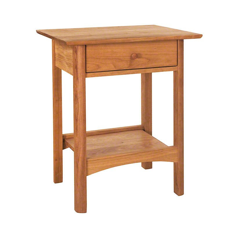 Modern Shaker Night Stand Solid Hardwood Natural Finish